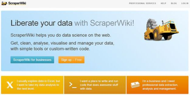 A screenshot from before the 2013 relaunch of Scraperwiki